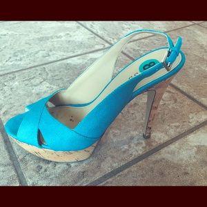 Torquize Blue Linen Heels